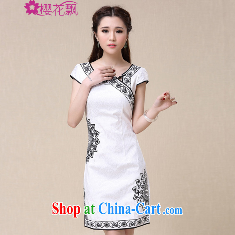 Cherry blossoms float spring 2015 summer China wind Ethnic Wind and elegant embroidery, cheongsam dress XXL