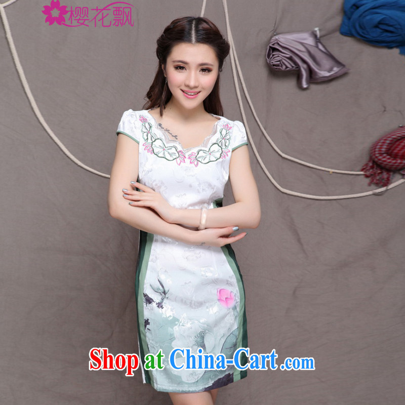 Cherry blossoms floating Chinese wind graphics thin cheongsam dress high-end original ethnic wind and stylish Chinese Antique cheongsam dress summer