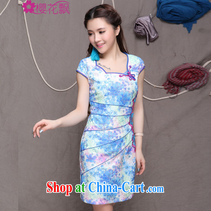 Cherry blossoms floating 2015 New China wind stylish Ethnic Wind and refined improved cheongsam dress elegance blue XL