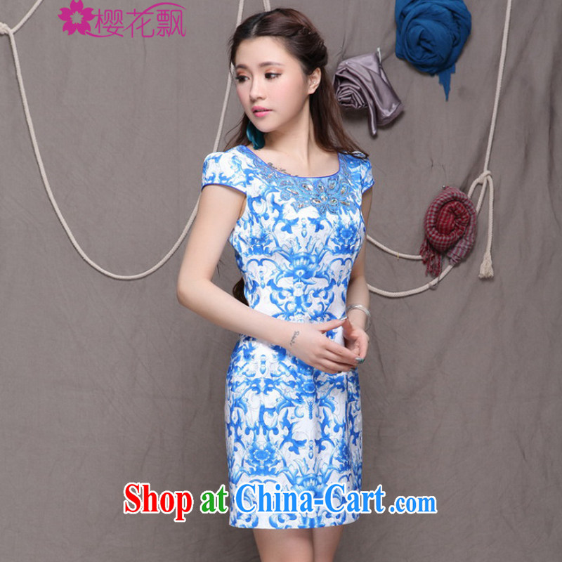 Cherry blossoms floating Chinese wind graphics thin dresses high-end ethnic wind and stylish Chinese qipao dress summer XXL
