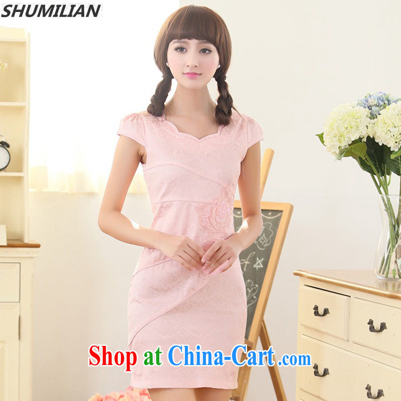 Mrs M, summer 2015 new stylish beauty graphics thin petal collar embroidered cheongsam pink XXL