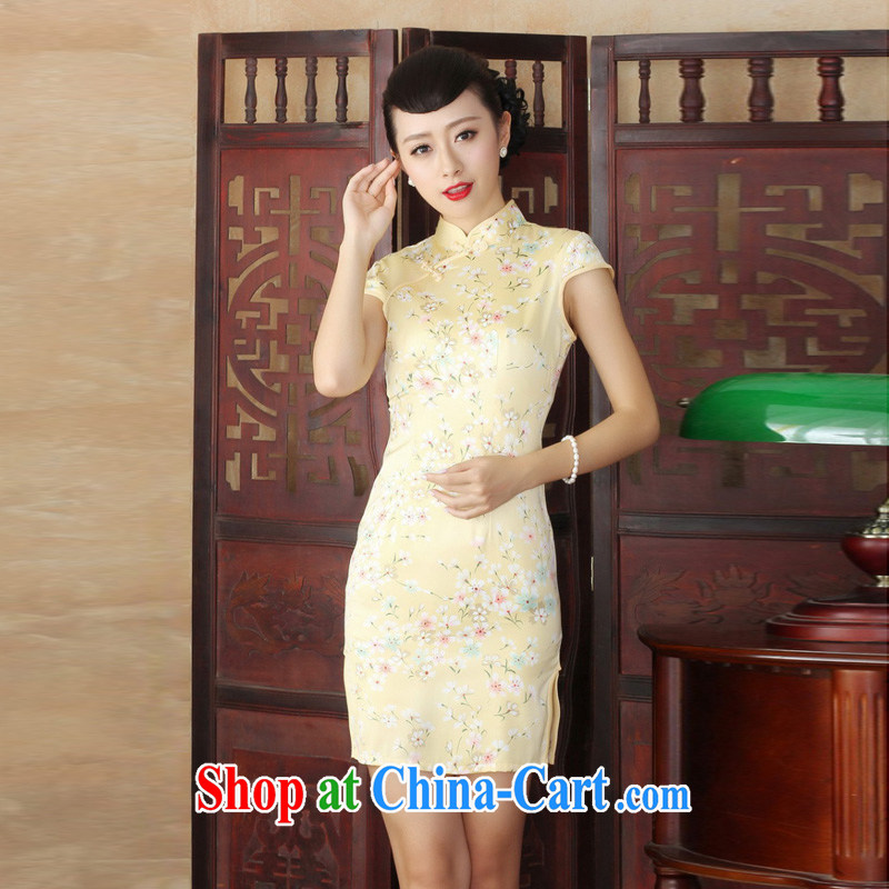 Mrs Ingrid sprawl economy 2015 ladies summer new cheongsam dress stylish improved Chinese floral retro short cheongsam dress as XXL
