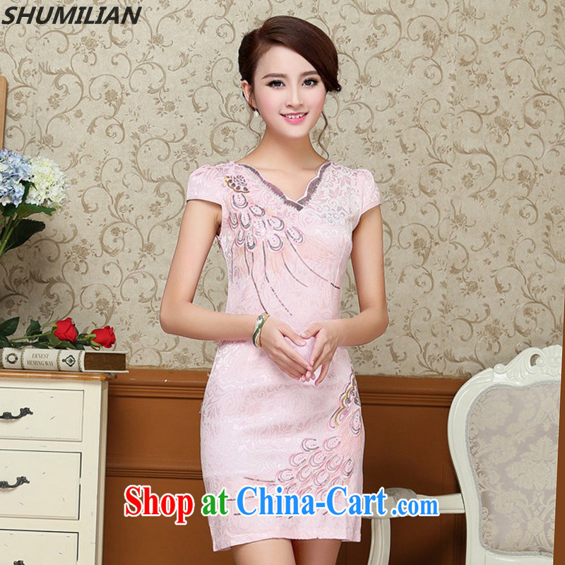 Mrs M, summer 2015 with new stylish beauty graphics thin minimalist petal collar embroidered cheongsam white XXL