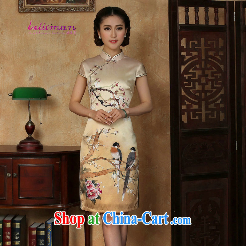 Mrs Ingrid sprawl economy female summer Silk Cheongsam golden, for a tight flower Magpies silk improved sauna short Silk Cheongsam AS SHOWN XXXL