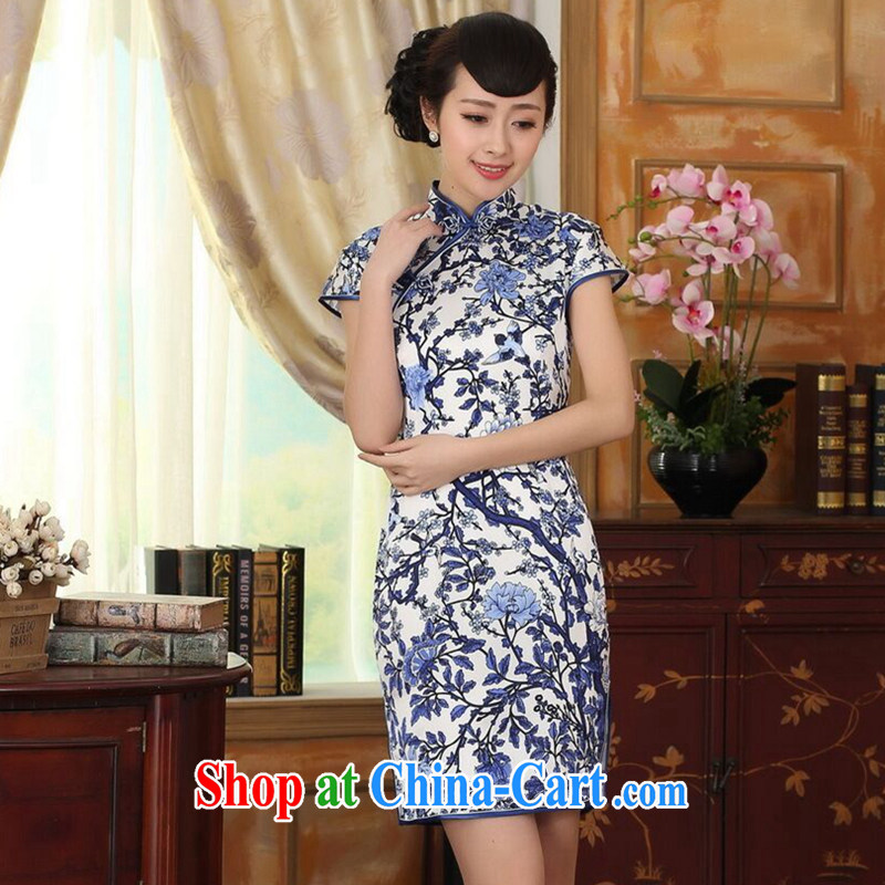 Find Sophie summer dress blue and white porcelain beauty stretch Satin Silk Dresses Chinese improved retro silk double short cheongsam as color 2XL