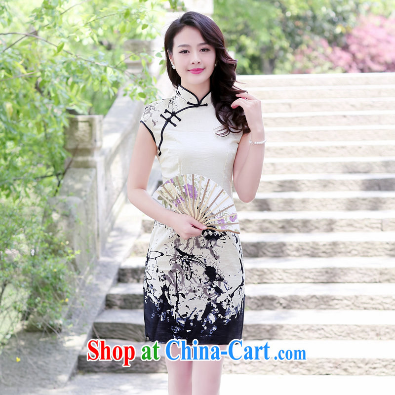 2015 summer new Ethnic Wind retro side on the truck cheongsam dress lady cultivating short-sleeved dresses painting 2XL