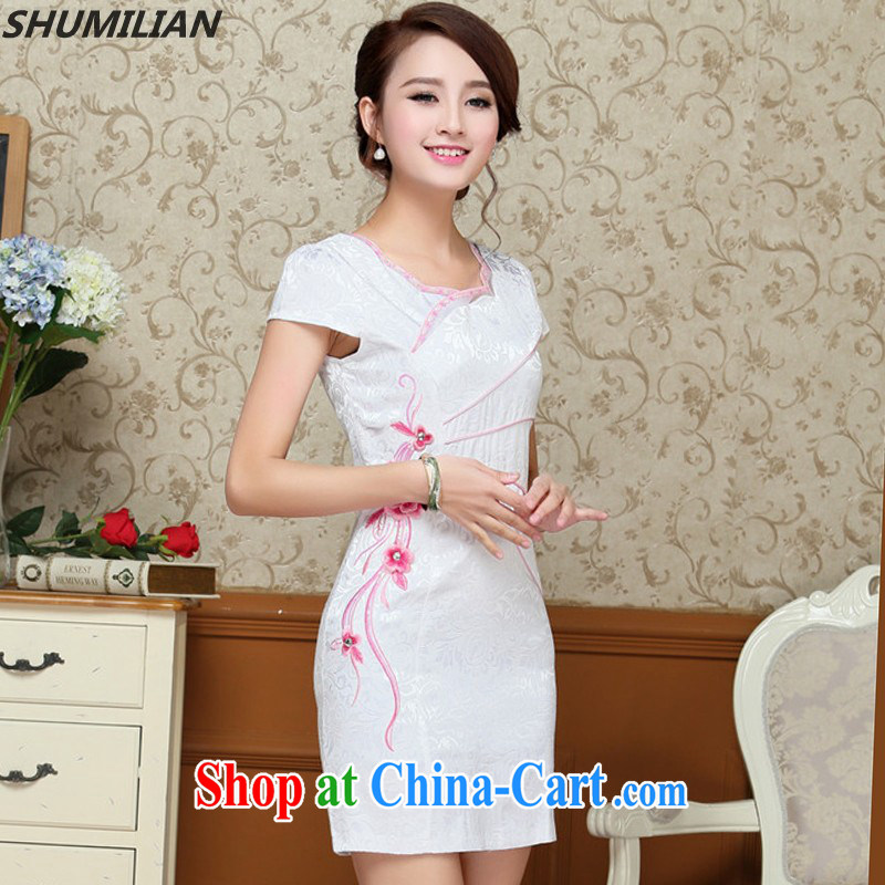 Mrs M, summer 2015 with new stylish beauty graphics thin minimalist petal collar embroidered cheongsam green XXL