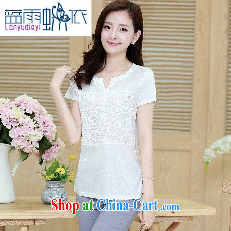 hamilton 2015 summer Korean chest Lace Embroidery stitching short-sleeved T-shirt girls cotton Ma T-shirt white XXXL