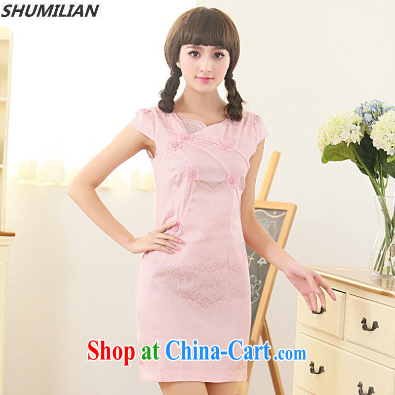 Mrs M, summer 2015 with new stylish beauty graphics thin personality minimalist petal collar jacquard cheongsam white XXL 120 - 130 jack