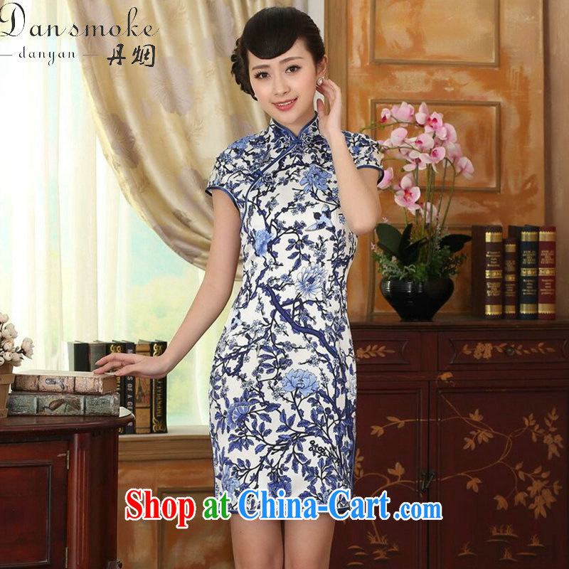 Dan smoke summer female blue and white porcelain beauty stretch Satin Silk Dresses Chinese improved retro silk double-decker short dresses such as the color 2 XL