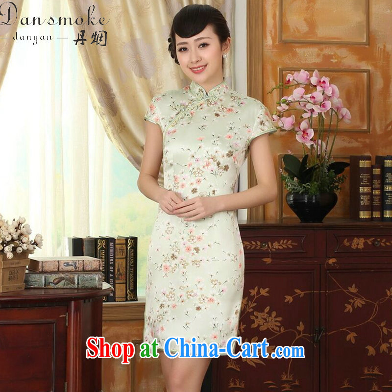 Bin Laden smoke-free summer female Chinese silk retro sauna silk poster stretch Satin improved floral beauty double short dresses such as the color 2 XL