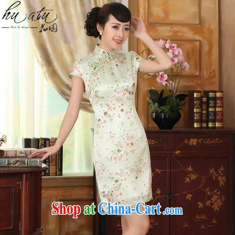spend the summer Women's clothes Chinese silk retro sauna silk poster stretch Satin improved floral beauty double short dresses such as the color 2 XL