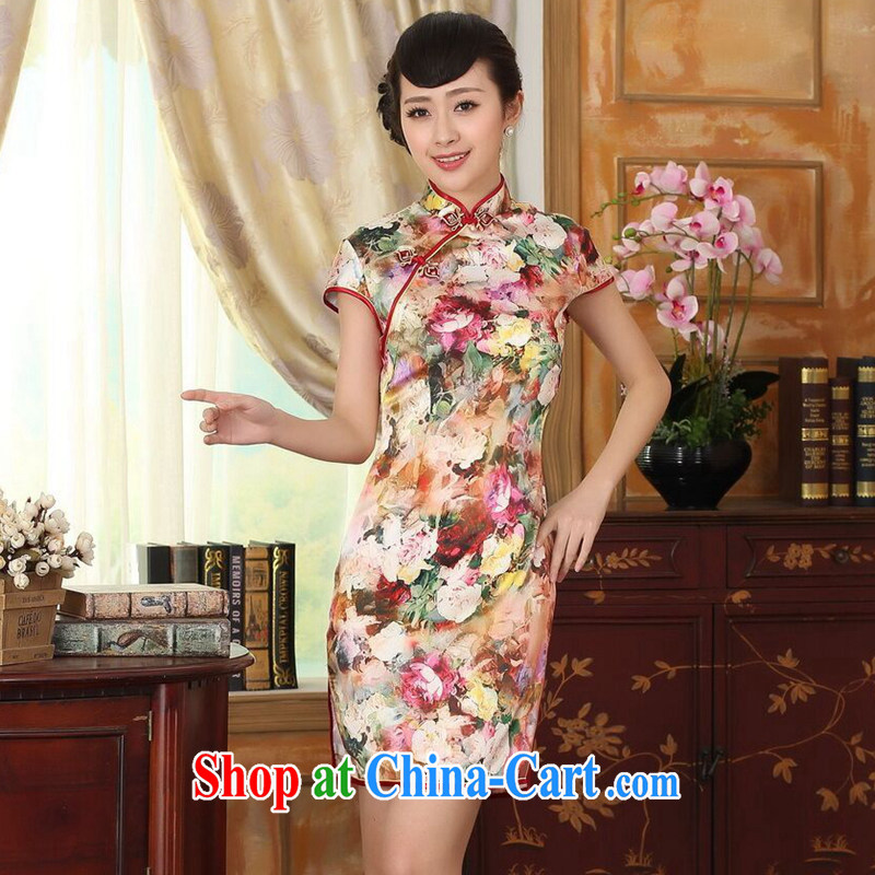 Find Sophie summer new female silk retro classic sauna silk poster stretch satin, for cultivating double short cheongsam decked 2 XL