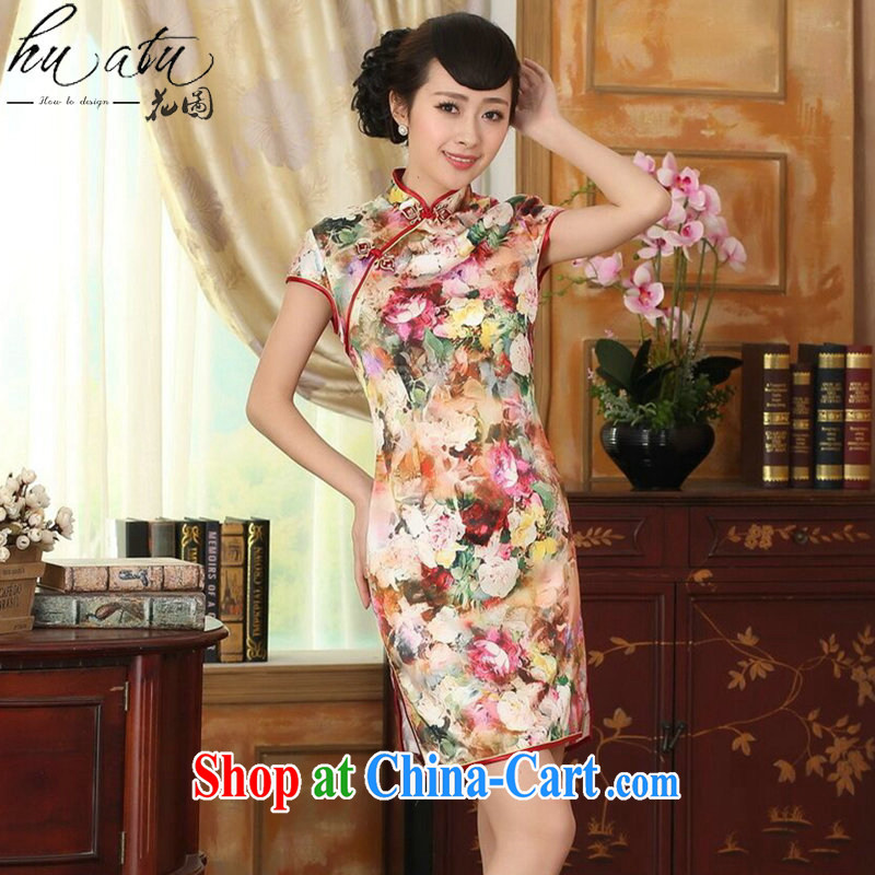 spend the summer new female silk retro classic sauna silk poster stretch satin, for cultivating double short cheongsam decked 2 XL