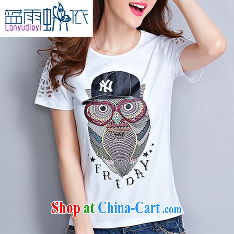 hamilton European site summer 2015 women owl stamp short sleeve shirt T girls cotton loose short-sleeve shirt T female white XL
