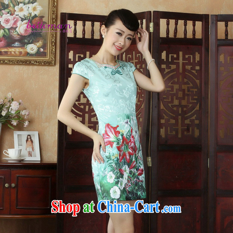 Mrs Ingrid sprawl economy summer dresses female Chinese China wind improved cheongsam dress dresses daily short cheongsam dress dress D 0243 figure XXL
