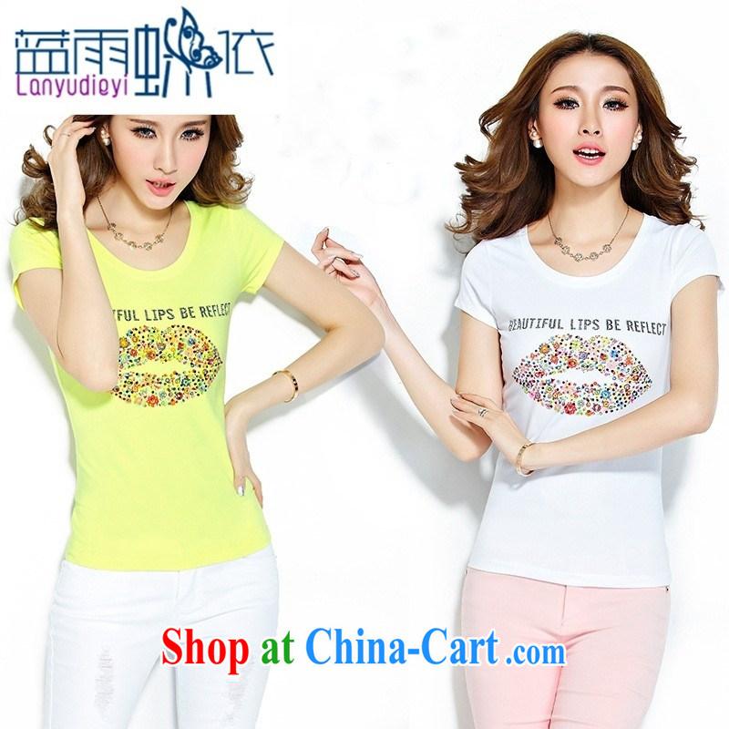 hamilton 2015 summer New Beauty T-shirt Han version round-collar half sleeve T-shirts lips stamp short sleeve girls T-shirt yellow XL