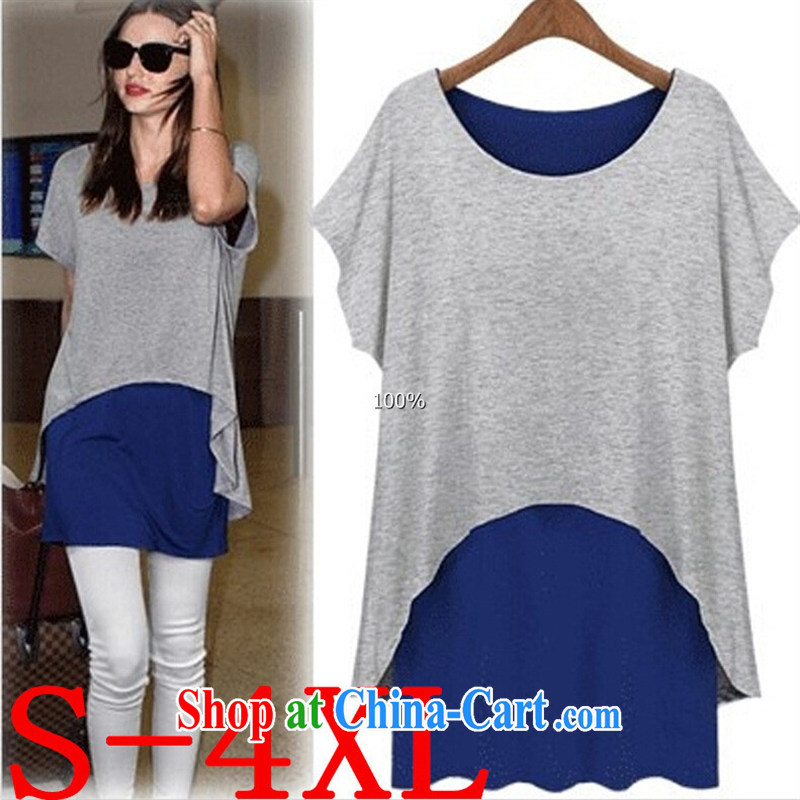 Korean summer new leave two long T shirts loose the code with graphics thin short-sleeved sweater girls blue with gray - Leave two XXXXL