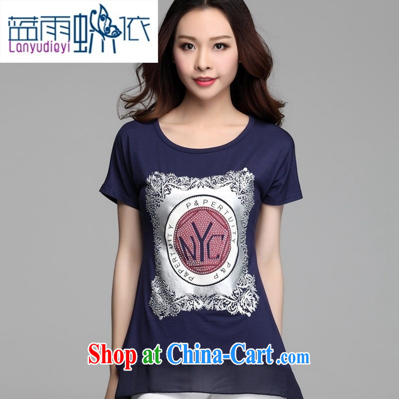 hamilton 2015 summer new short-sleeved loose larger female stamp T shirt dark blue 3XL