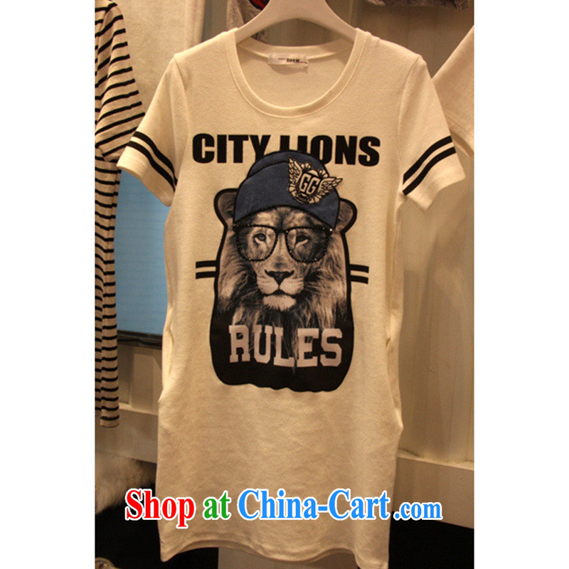 The Dongdaemun Lion glasses, long, stamp duty T shirt graphics thin T-shirt female T shirts female black XL (through 130 jack)