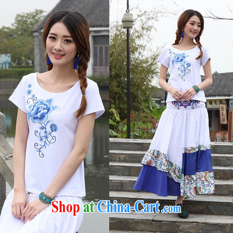 Elections, as soon as possible new embroidery T pension female summer ethnic wind female short-sleeved embroidered T-shirt girls 9872 XL