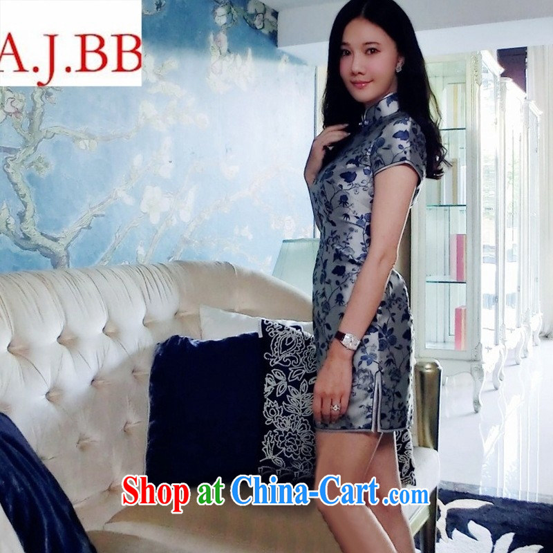 9 month dress _ Liu beauty summer 2015 with new, high-end custom short-sleeved blue, long marriage, Ms. cheongsam evening dress attire such as the color _large spot XL