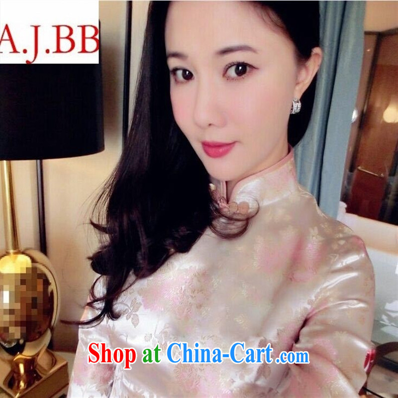 9 month dress * 2015 summer new, high-end custom pink flower long temperament dress cheongsam short-sleeved women toner suit L
