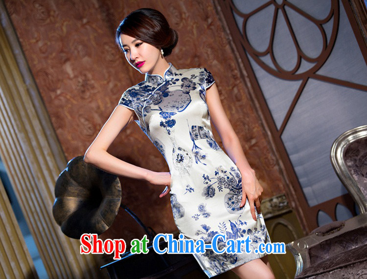 Slim li know light Silk Cheongsam dress new summer improved cheongsam dress upscale dress retro dress heavy QLZ Q 15 6067 Light M pictures, price, brand platters! Elections are good character, the national distribution, so why buy now enjoy more preferential! Health