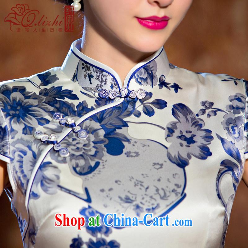 Slim li know light Silk Cheongsam dress new summer improved cheongsam dress upscale dress retro dress heavy QLZ Q 15 6067 Light M, slim Li (Q . LIZHI), online shopping