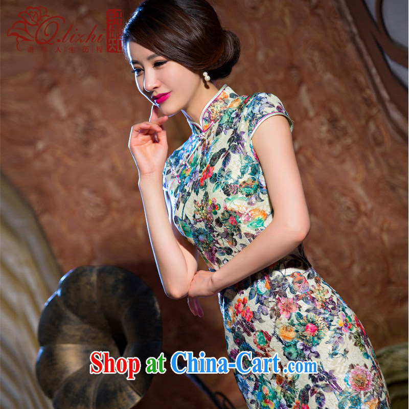 Slim li know chestnut flower cheongsam dress summer new lace cheongsam beauty sexy female cheongsam dress retro QLZ Q 15 6069 chestnut flower XXXL