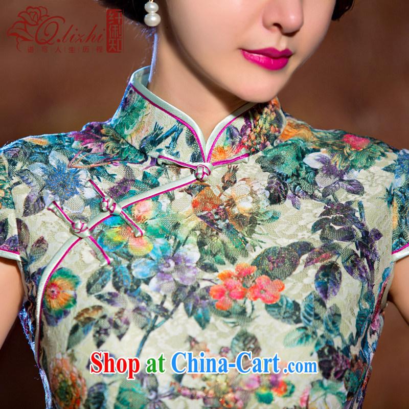 Slim li know chestnut flower cheongsam dress summer new lace cheongsam beauty sexy female cheongsam dress retro QLZ Q 15 6069 chestnut flower XXXL, slim Li (Q . LIZHI), online shopping