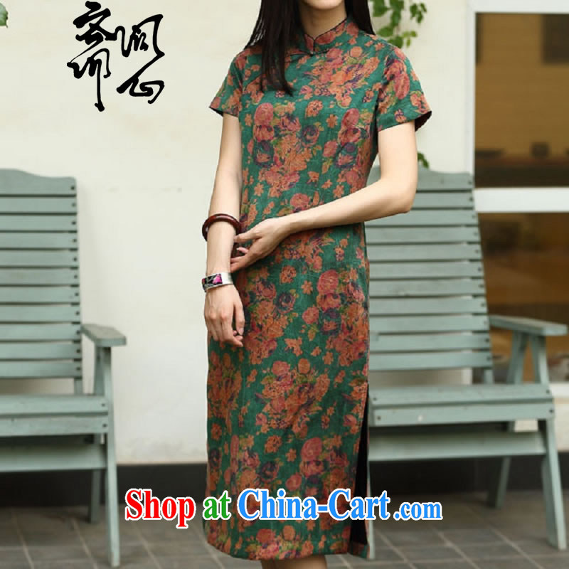 Asked about Ramadan and the Hyatt heart health female spring new Chinese Antique Silk Cheongsam cheongsam high 1958 green floor fancy L