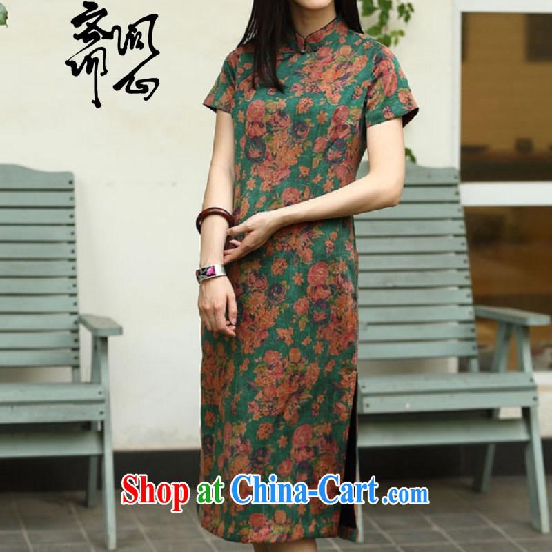 Asked about Ramadan and the Hyatt heart health female spring new Chinese Antique Silk Cheongsam cheongsam high 1958 green floor fancy L
