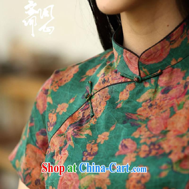 q heart Id al-Fitr (Yue heart health female spring new Chinese Antique Silk Cheongsam cheongsam high 1958 green bottom L suit, ask heart ID al-Fitr, shopping on the Internet