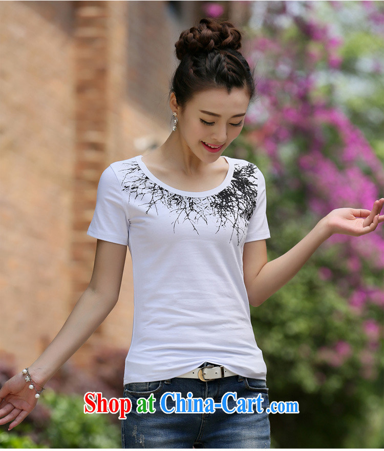 Qin Qing store 2015 summer new Korean female T-shirt short sleeve T-shirts solid T shirts female white 2 XL pictures, price, brand platters! Elections are good character, the national distribution, so why buy now enjoy more preferential! Health