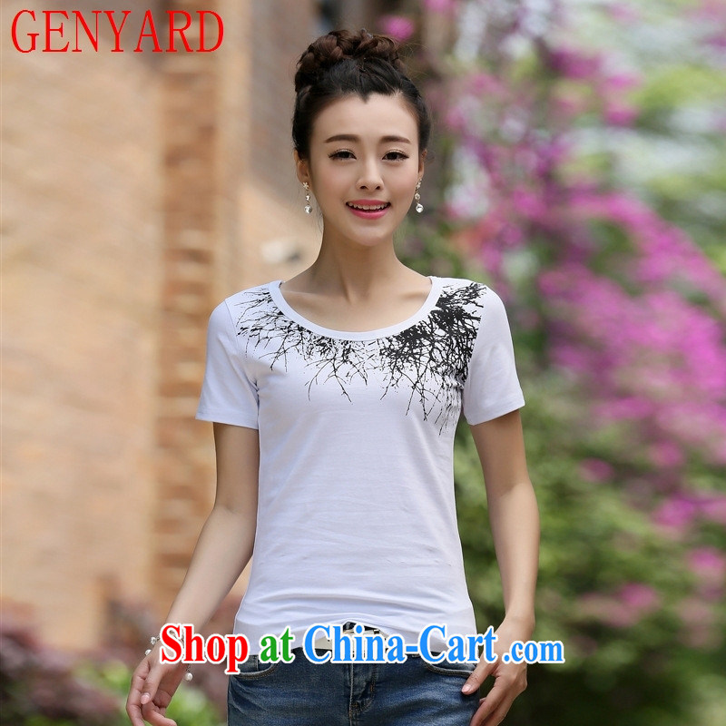 Qin Qing store 2015 summer new Korean female T-shirt short sleeve T-shirts solid T shirts female white 2 XL