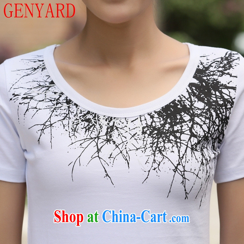 Qin Qing store 2015 summer new Korean female T-shirt short sleeve T-shirts solid T shirts female white 2 XL, GENYARD, shopping on the Internet