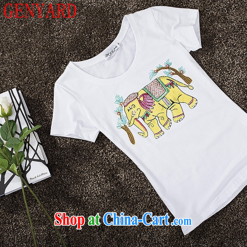 Qin Qing store 2015 new Korean style summer T shirts exotic elephant style beauty T shirt white XL