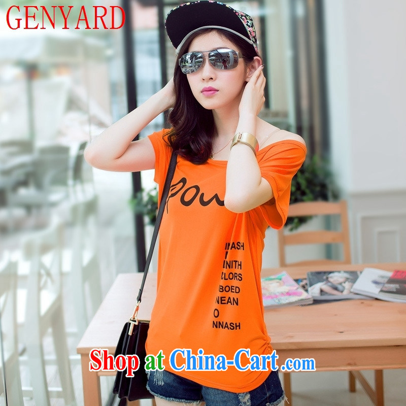 Qin Qing store 2015 summer new Korean relaxed beauty round-collar T shirts ladies stamp short-sleeved solid knit-white XL
