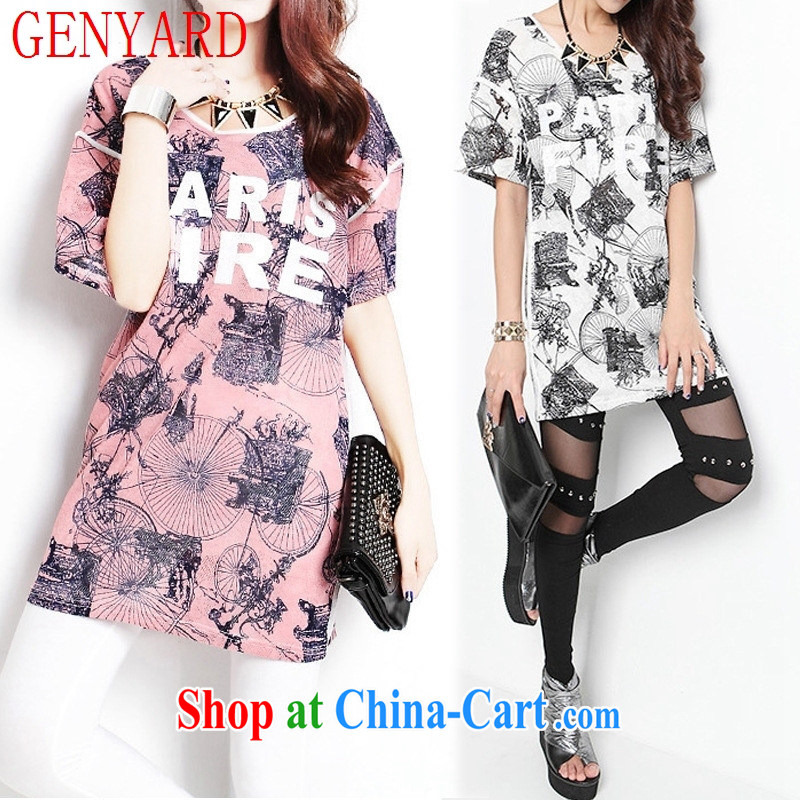 Qin Qing store 2015 spring and summer new Korean female summer floral English stamp, long, loose short-sleeved T shirt white XL