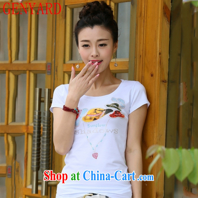 Qin Qing store 2015 summer new Korean women who decorated graphics thin round-collar stamp T pension maximum code short-sleeve T-shirts solid T shirt gray 2 XL