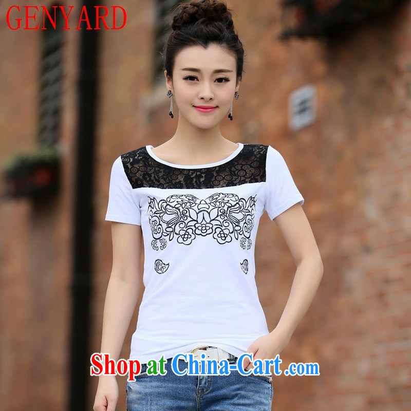 Qin Qing store only 2015 summer new Lace Embroidery features round-collar cultivating short-sleeved girls T-shirt stitched cotton white 2XL