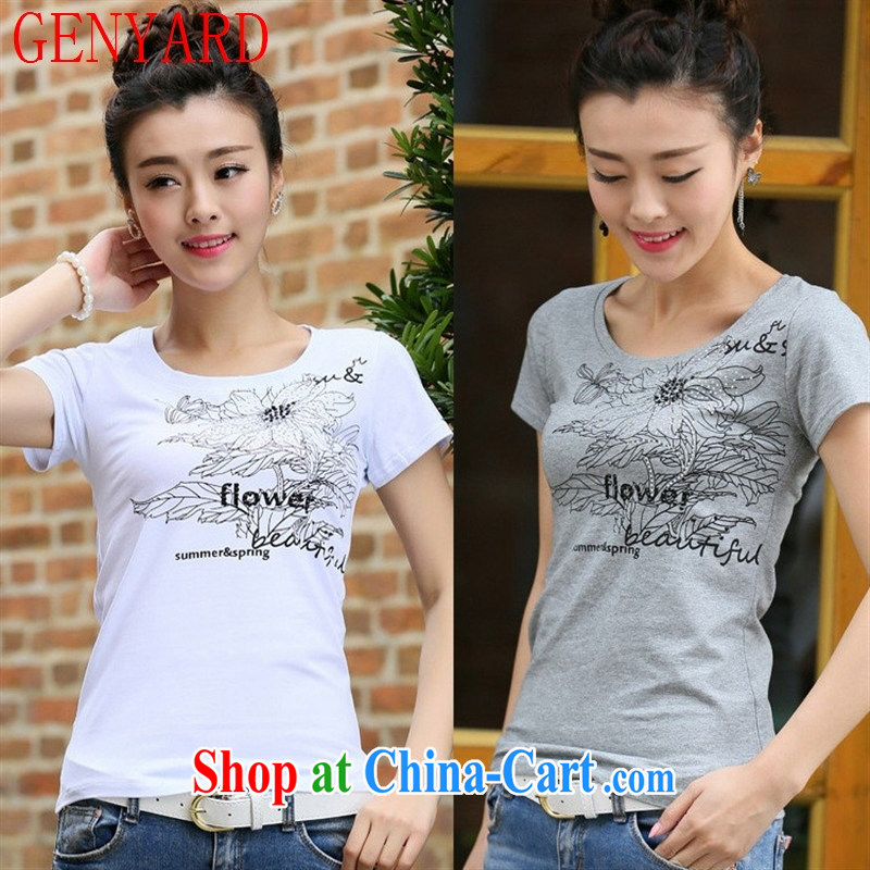 Deloitte Touche Tohmatsu sunny store 2015 new summer Korean female pure cotton short-sleeved T-shirt, cultivating the code t-shirt gray 2 XL