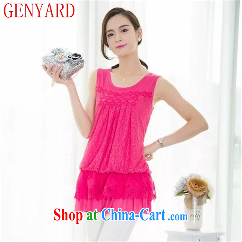 Qin Qing store female larger straps in the vest, long loose lace solid shirts, wear sleeveless dress green XL