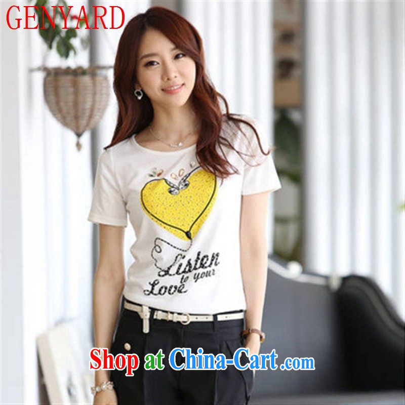 Qin Qing store 2015 summer new female Korean beauty with white short-sleeved T ? girls cotton short-sleeved female T pension white XL