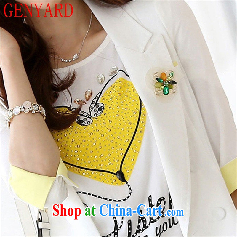 Qin Qing store 2015 summer new female Korean beauty with white short-sleeved T 桖 girls cotton short-sleeved female T pension white XL, GENYARD, shopping on the Internet