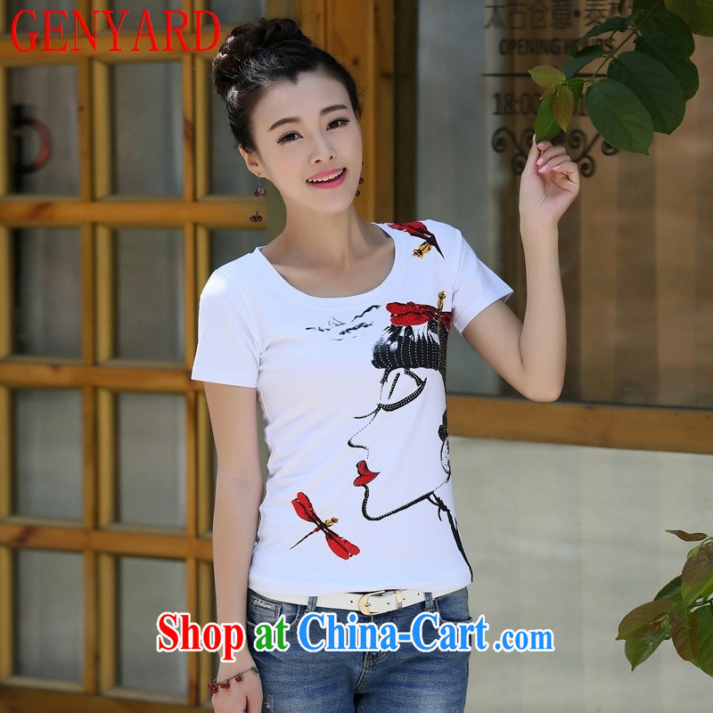 Deloitte Touche Tohmatsu store sunny summer 2015 with new Korean women who decorated graphics thin T pension maximum code short-sleeved solid shirt T shirts white XL