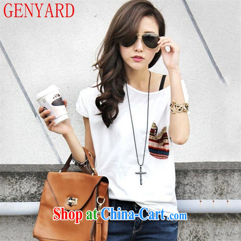 Qin Qing store 2015 spring and summer female Korean version, generation, solid shirts stitching striped pocket short-sleeved clothes T cotton shirt white T-shirt are code