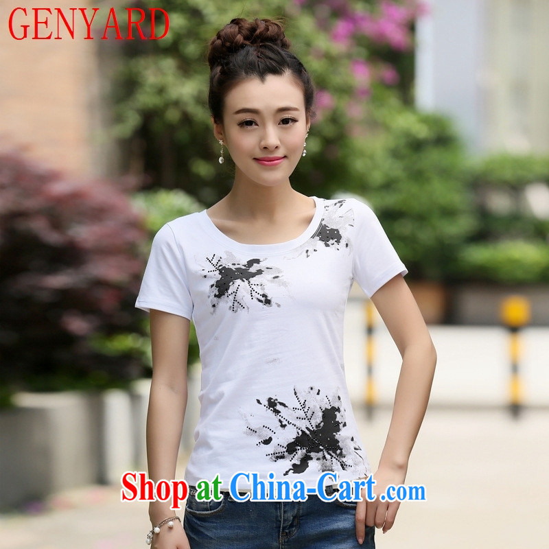 Qin Qing store 2015 summer new cultivating short-sleeved women's code t-shirt pure cotton solid T-shirt T-shirt gray 2 XL