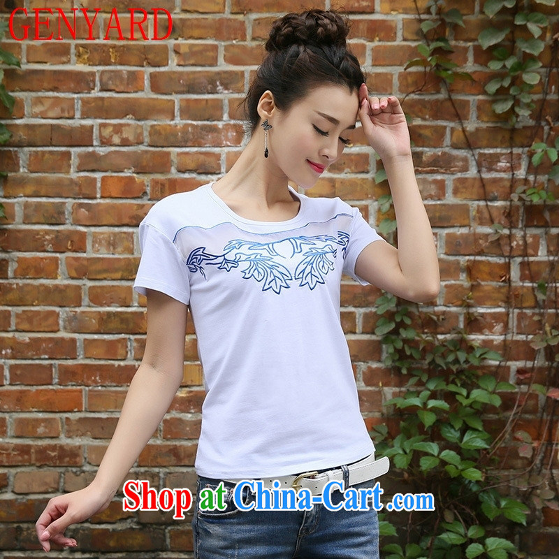 Qin Qing store only 2015 summer new embroidered features round-collar cultivating short-sleeve girls T-shirt large code stitching cotton white 2XL
